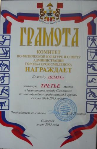 Чемпионат г.Смоленска по мини-футболу, сезон 2014-2015